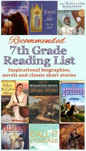 Recommended Reading List for 7th Grade