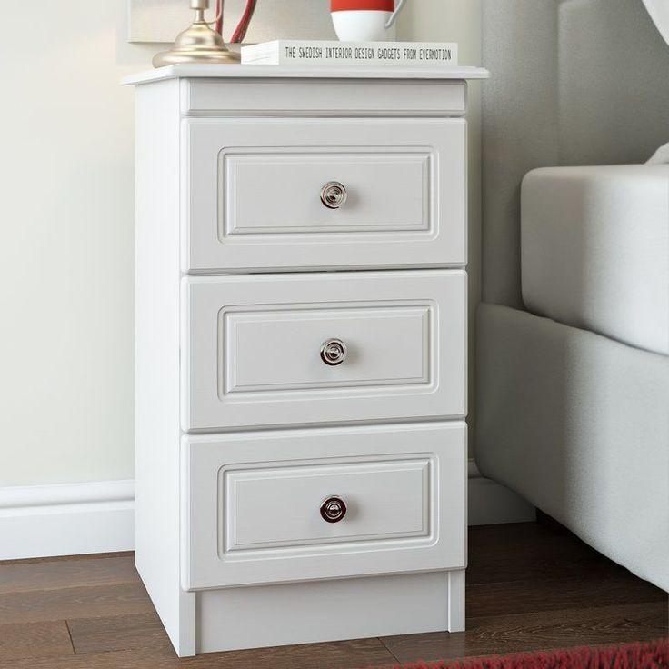 Wooden Bedside Table 3 Drawer Storage White Silver Solid Wood Bedroom Furniture