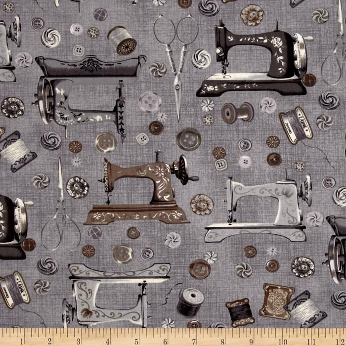 Vintage Couturier 2 Machines And Buttons Charcoal