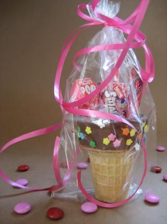 "Ice Cream Cone Party Favors: ""Since it was an extremely hot day, I used chocolate icing which stood up to the heat much better than the melted chocolate would have. These will definitely be made again for future parties!"" -Jewelies"