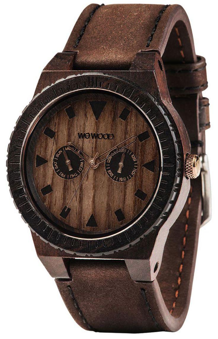 Wewood Holzuhr Herren Armbanduhr Lederarmband braun WW37005 Herrenuhr, Miyota Uhrwerk, Palisander Uhrengehäuse, Palisander-Armband mit Clipverschluß, Durchmesser 45 mm, Höhe 11 mm, Gewicht ca. 56 g, Datumsanzeige, Wochentaganzeige
