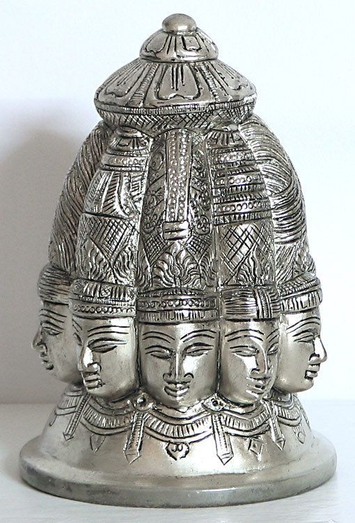 silver plated Nava Mukhalingam. Nine Faces of Lord Shiva