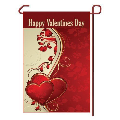 "Valentines Day Garden Flag Vinyl 12.5"" x 18"" by Outdoor Accents. $13.99. Hardware Sold Seperately. Outdoor Accents Garden Flags artwork is full color digitally printed onto heavy duty durable vinyl material for long lasting use.. This Seasonal Garden Flag will liven up your outdoor decor and put your guests in the Holiday spirit!. Valentines Day Seasonal Vinyl Garden Flag 12.5"" x 18"" (Hardware Sold Seperately). Fits garden flag stand or garden size flag arbor. Valentine..."