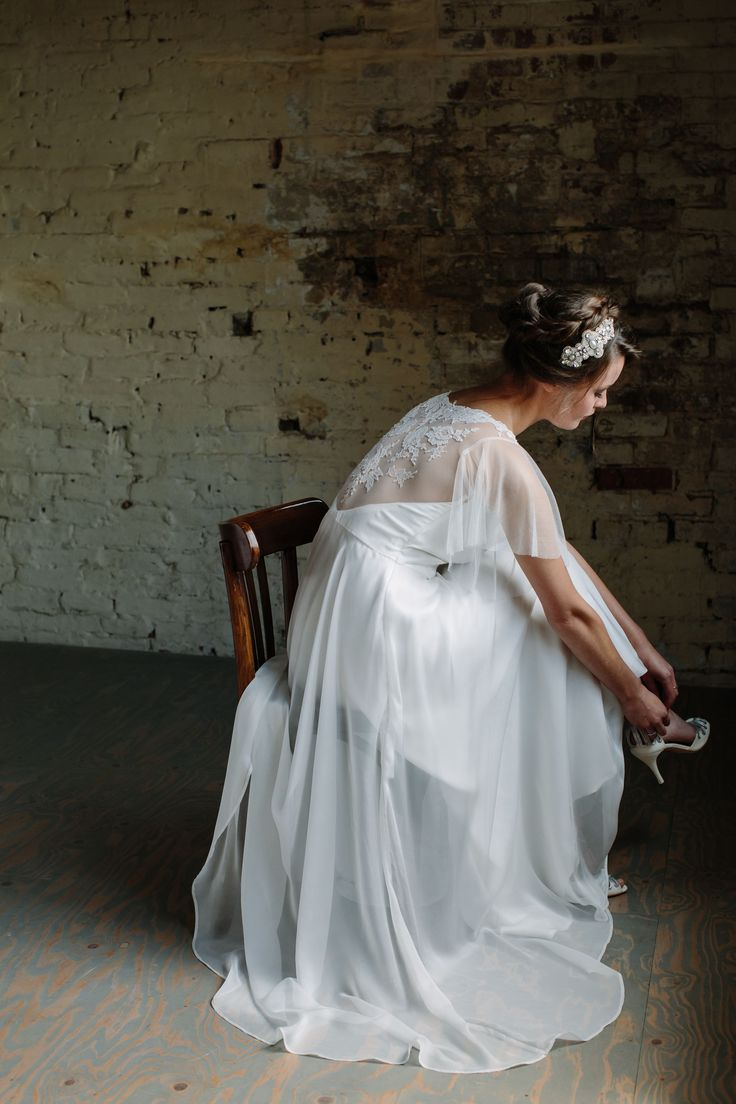 R O S E  D R E S S- Delicate silk chiffon dress featuring an illusion back with hand appliquéd French lace and silk tulle fluted sleeves.  _____________________ Headdress by @victoriafergussonaccessories  Shoes by @emmyshoes  Image by @joannabrownphotos  Modelled by @charverity  Hair and make up by @beautifullyhitched