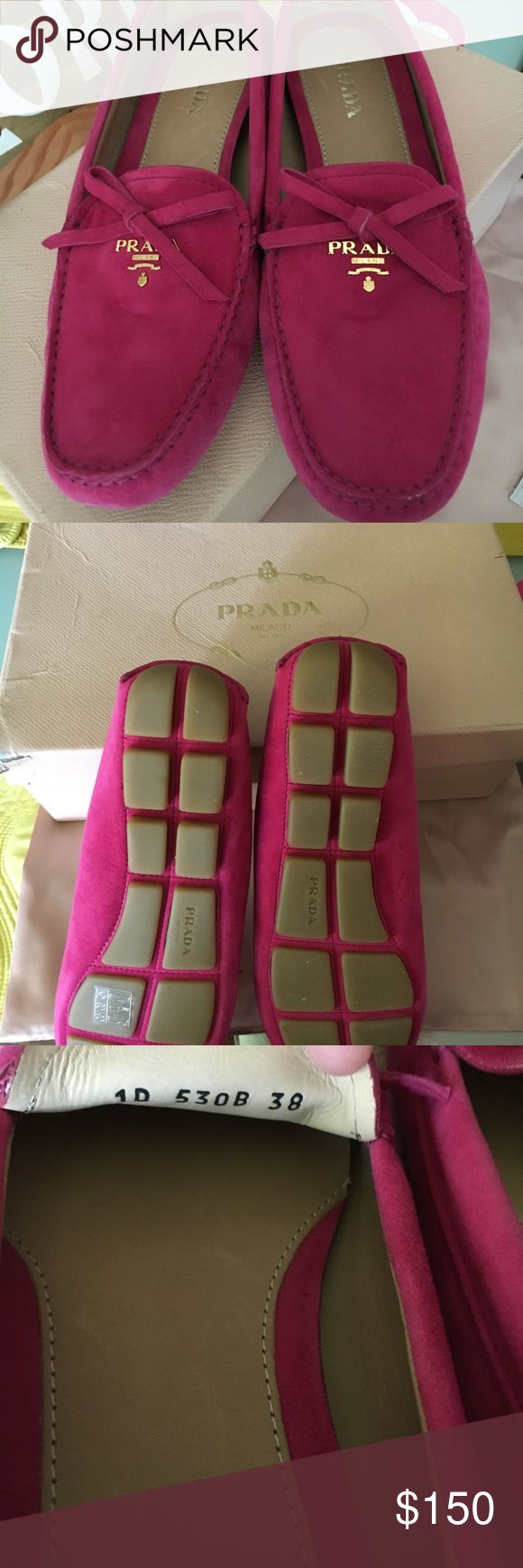 Authentic Prada driving loafers Never used in a box with dust bag... can fit size 7 or 7.5 Prada Shoes Flats & Loafers