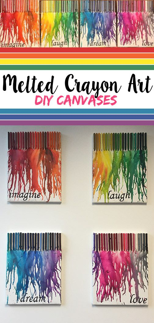 """DIY melted crayon canvas art! Four 8.5 x 11"""" canvases. One 128 pack of crayons. Transfer/graphite paper and paint if you want to paint the canvases first. I printed out the words to the right size, went over them with transfer paper and painted them I. Hot glue unwrapped crayons to top of canvases. I put them in rainbow order and took out the ugly colors. Prop the canvases upright so the wax will melt down, and blow dry away!"""