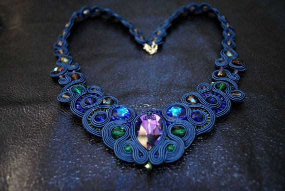 Soutache necklace soutache jewelry  ORIENTAL by rodicasoutache