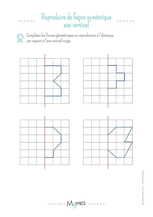 La symétrie verticale : exercice | Axe de symétrie, Symétrie, Exercice de géométrie