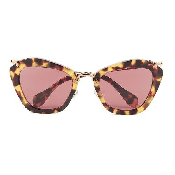 Miu Miu Noir Women's Sunglasses - Yellow Havana (460 CAD) ❤ liked on Polyvore featuring accessories, eyewear, sunglasses, yellow glasses, cateye glasses, tortoise shell glasses, tortoiseshell sunglasses and plastic glasses
