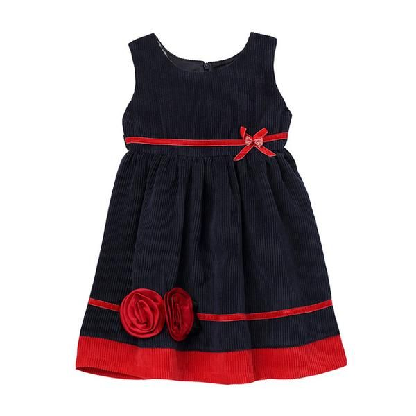 Baby Kids Girls Princess Dresses Autumn Winter Striped Girl Dress Corduroy Sleeveless England Style 2t/3t/4t/5t