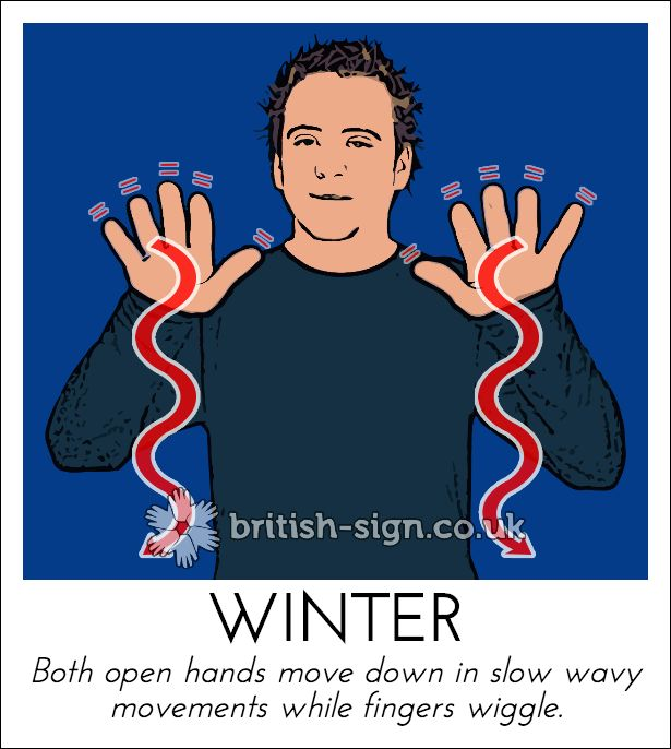 Today's British Sign Language sign is: WINTER #BSL #BritishSignLanguage - Online BSL dictionary: www.british-sign.co.uk