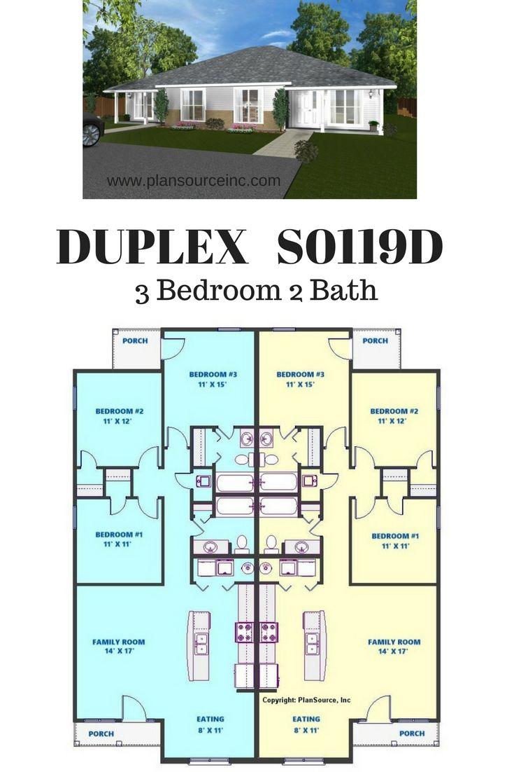 3 Bedroom 2 Bath 1241 Square Feet Per Unit Duplex Blueprints Investment Property Duplex House Plans Duplex Floor Plans Duplex House