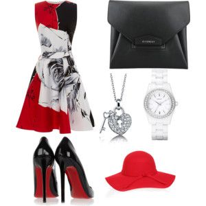 red-black-white outfit.