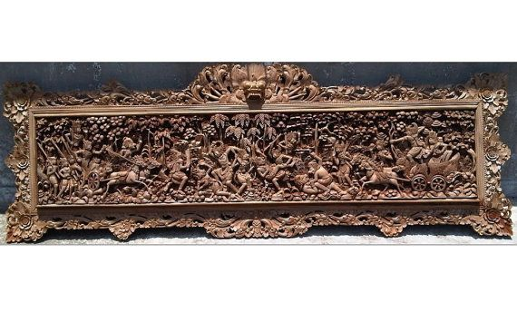 Vintage Teakwood carving  War Baratayudha  from by JavaCulture