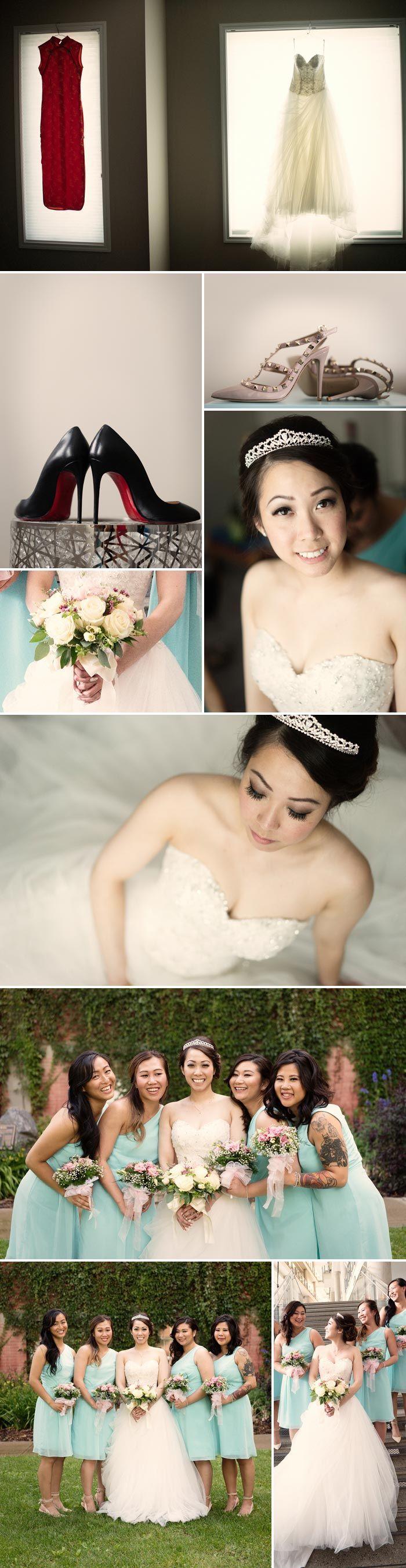 Chinesische Hochzeit: Braut mit Brautjungfern in Türkis. Fotos: © Daphne Chen Photography