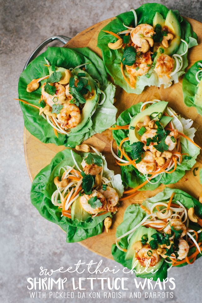 Sweet Thai Chili Shrimp Lettuce Wraps | Brewing Happiness
