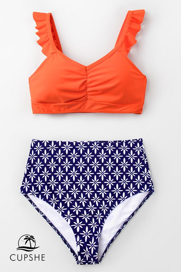 f0124811241 Complete your swimwear collection with our Tangerine Ruffled and  High-Waisted Bikini.