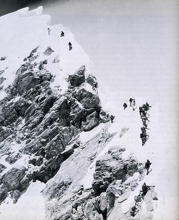 1996 Mt. Everest Disaster | Summit Ridge - 1996 May 10, 1 pm - Credit Jon Krakauer, Into Thin Air ...too many tried to get to the summit in a very narrow weather window, and not all made it back before the storm hit.