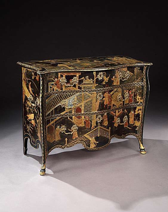 THE ST.GILES HOUSE COMMODES. A PAIR OF GEORGE III CHINESE LACQUER COMMODES ALMOST CERTAINLY BY JOHN COBB English, circa 1765