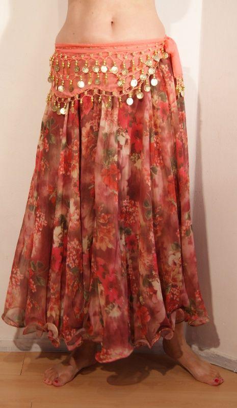 2-lagen chiffon cirkelrok met roze bloemen met golvende zoom - 2-layer skirt chiffon with pink flowers | Rokken - Skirts | buikdanswinkel-webshop