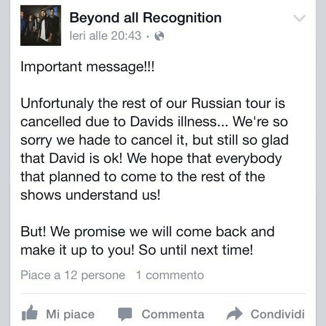 We are so sorry to announce the ending of this tour. We have found awesome guys, Beyond All Recognition deserves a great future and great tours: we are sure that they will come back stronger than before. We wish the best for David, get well soon bro! After that, RoE Russian Tour is not over yet: we are going to play on Sunday, Saint Petersburg, as planned! See you, homies!