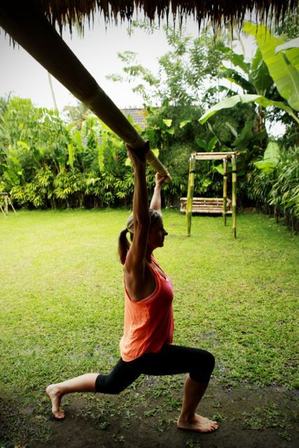 Keeping it simple. Our outdoor bamboo gym is all we need for a Fusion Fitness session. http://www.sharingbali.com/bootcamp/general-fitness/