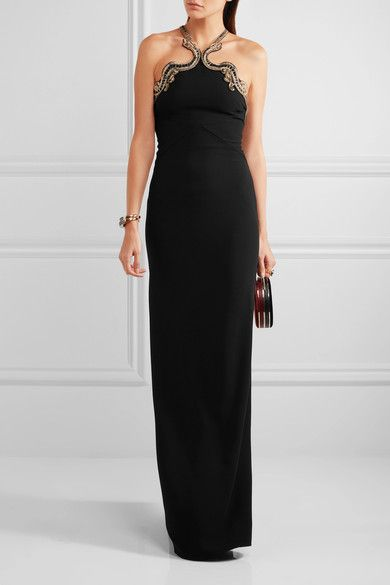 Black stretch-crepe  Concealed hook and zip fastening side 95% viscose, 5% elastane; lining: 100% silk Dry clean Made in Italy