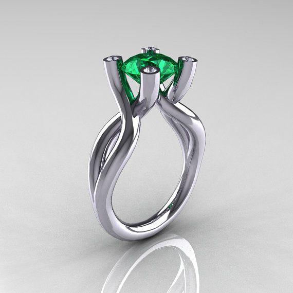 Modern 10K White Gold 1.5 Carat Emerald Diamond by artmasters, $1249.00