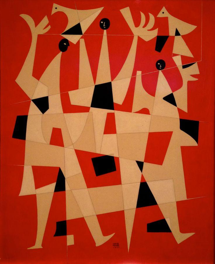 """""""Fiesta de pájaros"""" por Carlos Mérida, 1959 -   'Festival of the Birds' by Carlos Merida, polished fibracel board, 1959"""