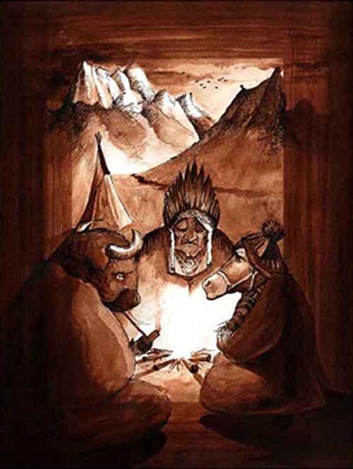 Tales by Levente Kocsis, via Behance Title: Indian Winter watercolor