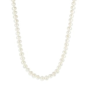 White Freshwater Cultured A Quality Pearl Necklace (7.5-8mm), 20Quality Pearls, Pearls String, Pearls Strand, Pearls Necklaces, Atart Exercise, Freshwater Pearls, Princesses Length Black, Inexpensive Princesses Length, Add Polish