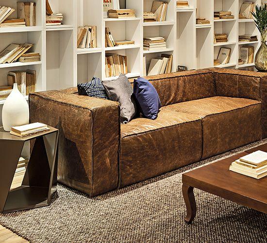 Sofa 3 lugares morgan couro natural design de moveis for Mobilia wedding