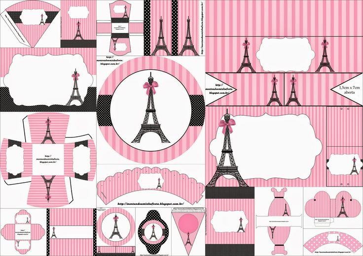 Completo Kit para Fiestas con el Tema París para Imprimir Gratis.