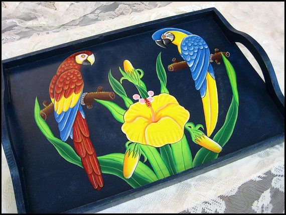Wooden Tray  Hand Painted Serving Tray  Tropical Parrots - This hand painted wooden serving tray will add an exciting look to your table. Great for parties. Tray is made from wood and high quality hardboard. After the tray is hand painted, it is coated with a clear varnish to seal and waterproof the tray.   by tabledecor, $24.95
