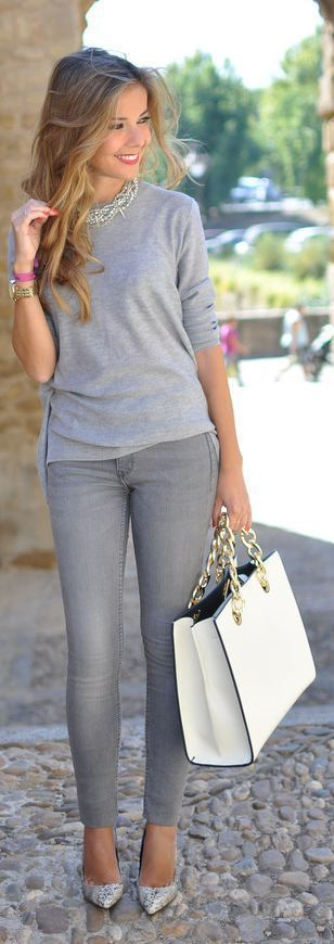 Grey and Lace Back with Plain Jeans + Handbag + Nude Pumps