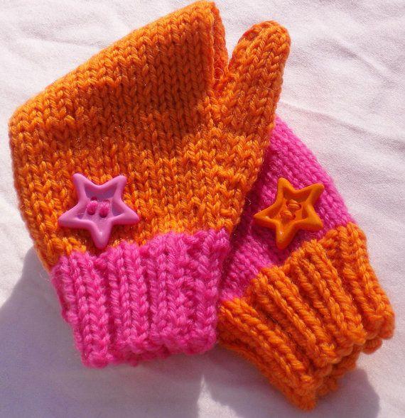 Mittens Handknit Mismatched Mittens Washable Merino Wool Children's Mittens (Small) Pink & Orange With Star Buttons Handmade Kid's Mittens