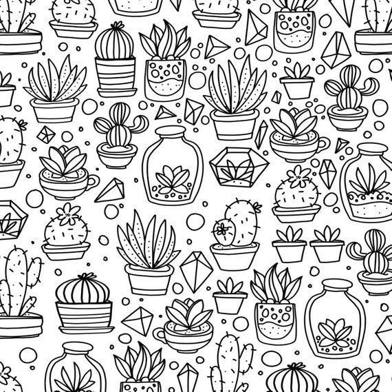 Succulents And Cactus Hand Drawn Coloring Page Print Color
