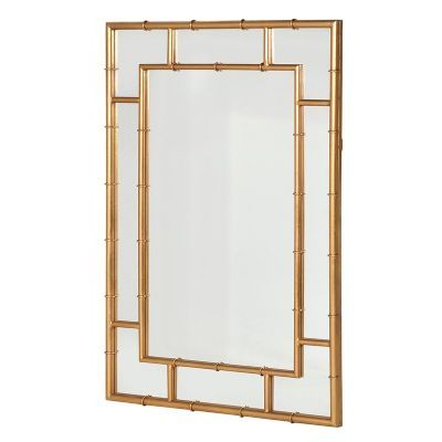 Modern Gold Finished Bambo Style Framed Wall Mirror