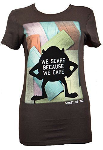 At Monsters Inc, they scare because they care. Mike reminds everyone of this on this juniors tee. - Womens Juniors Fitted tee - 100% Cotton - Officially licensed