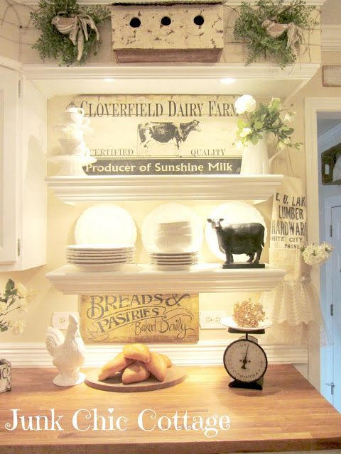 Trade a standard cabinet for open shelving by Junk Chic Cottage