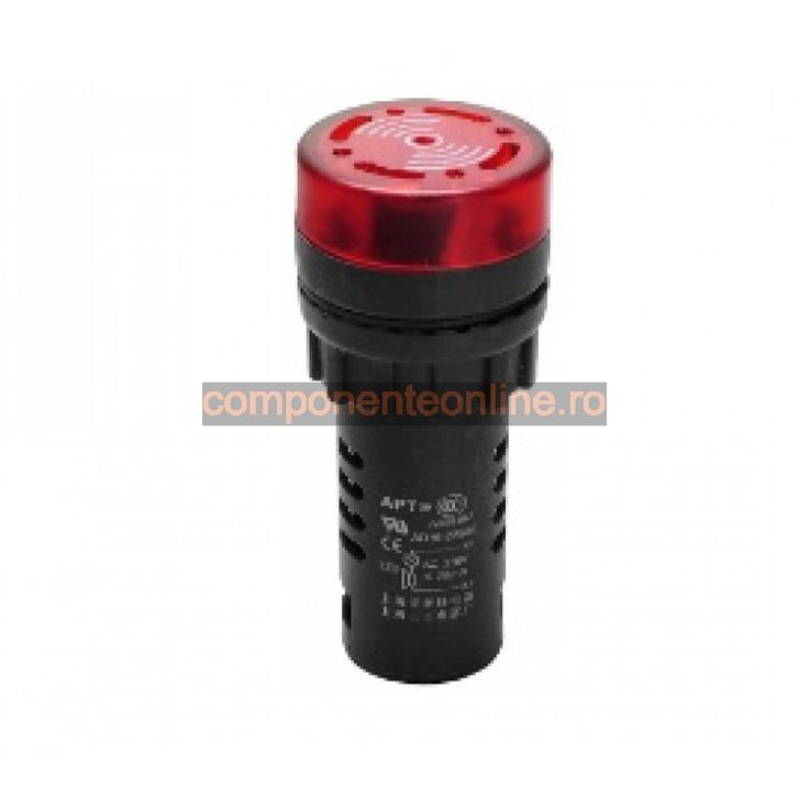 Lampa de control, 220V, 67x29 mm, rosu, cu buzzer - 167160