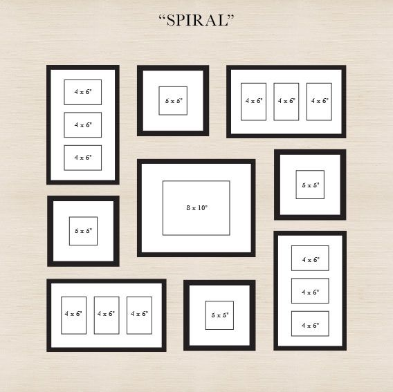 spiral start by placing the center frame then spiral out the other frames - Picture Frame Design Ideas