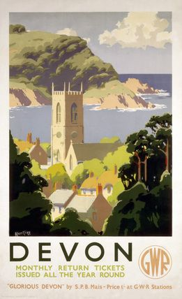 Great Western Railway poster c 1930s Devon, GWR