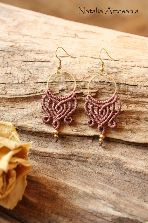 Makramee Tribal Gypsy Boho Earrings by NataliaArtesania on Etsy