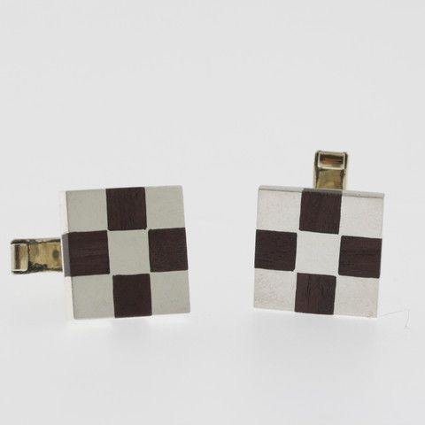 Sterling silver and turqoise square cufflinks