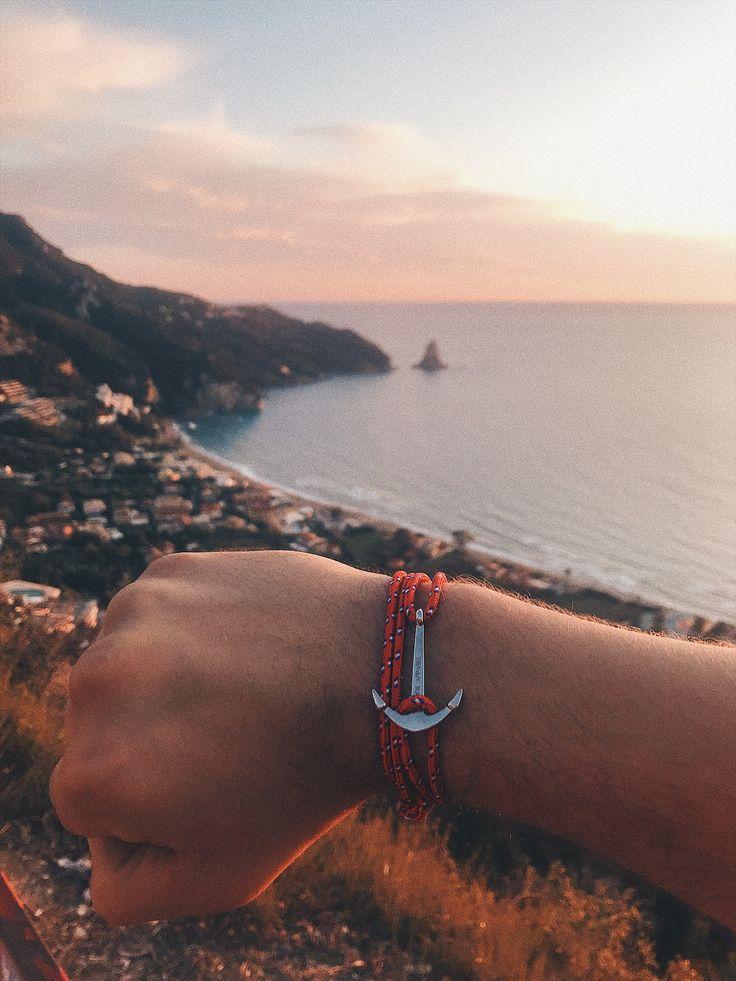 Accessories for Men Women, Unisex Anchor Bracelet in Red, Sunset