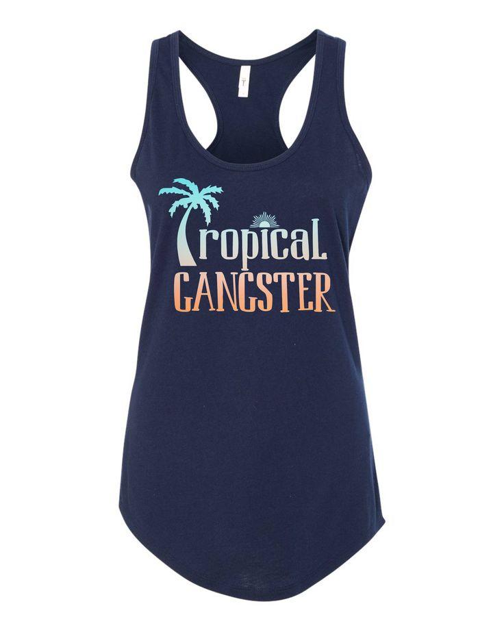 Tropical Gangster Beach Racerback TAnk - Navy Blue and Orange  - Palm Trees Sunrise Salty Air Beach Trip Girls Trip Spring Break by peacearmy on Etsy