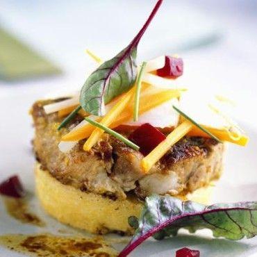Tournedos de veau à la polenta et aux légumes