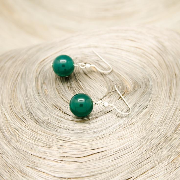 Boucles d'oreilles assorties aux deux Colliers Agates Vertes