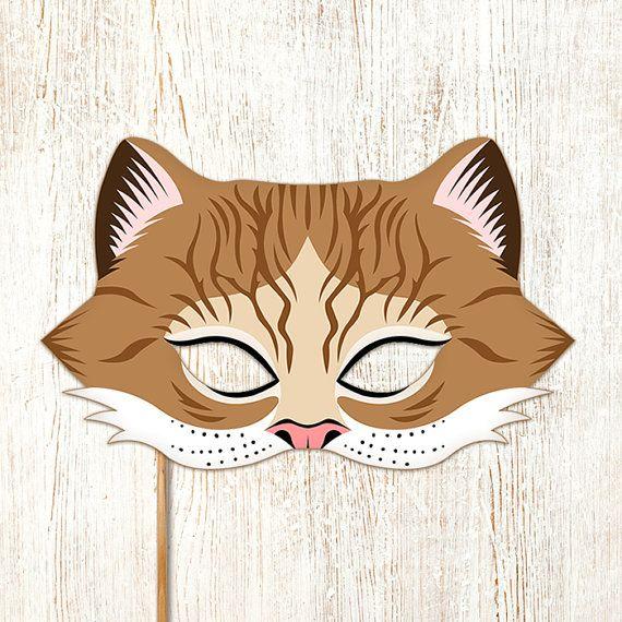 Cat Mask Brown Tabby Printable Gray Animal Masks by LMEprintables